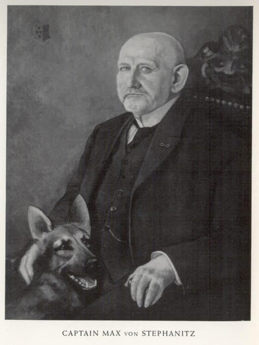 retrato del capitan max von stephanitz y un pastor aleman