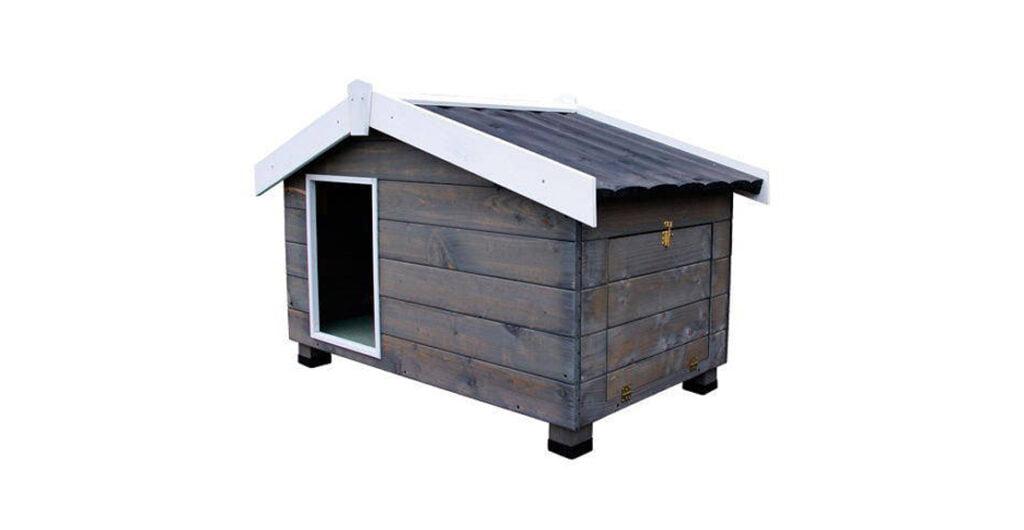 caseta para perros con porche mountain gris